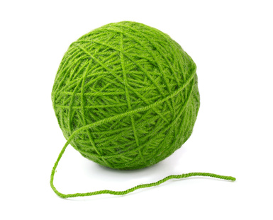 Green wool yarn ball